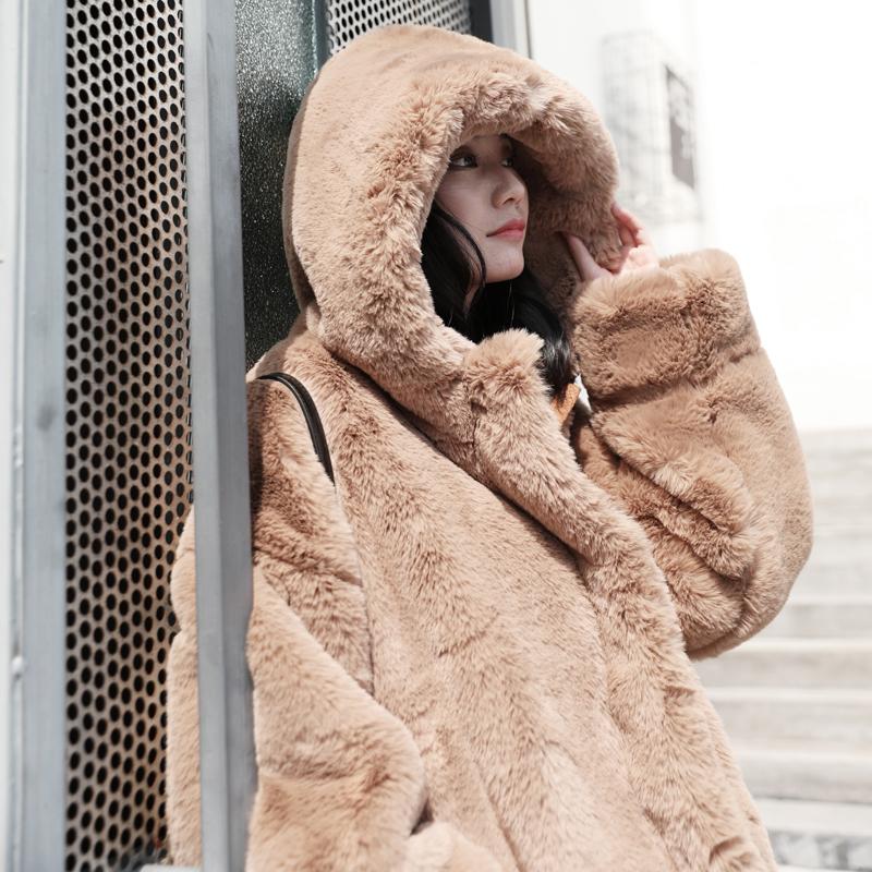 反季清仓特价毛毛外套女皮草大衣新款秋冬中长款连帽加厚毛绒女装