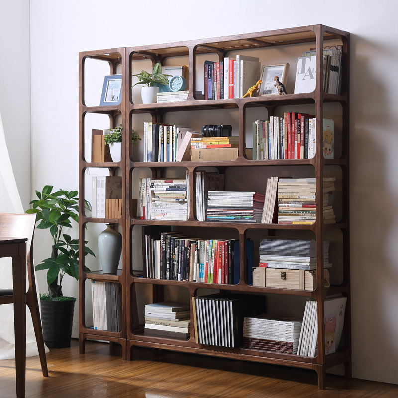 Special offer Black walnut solid wood bookcase combination glass shelf  creative art furniture living room bookcase simple modern