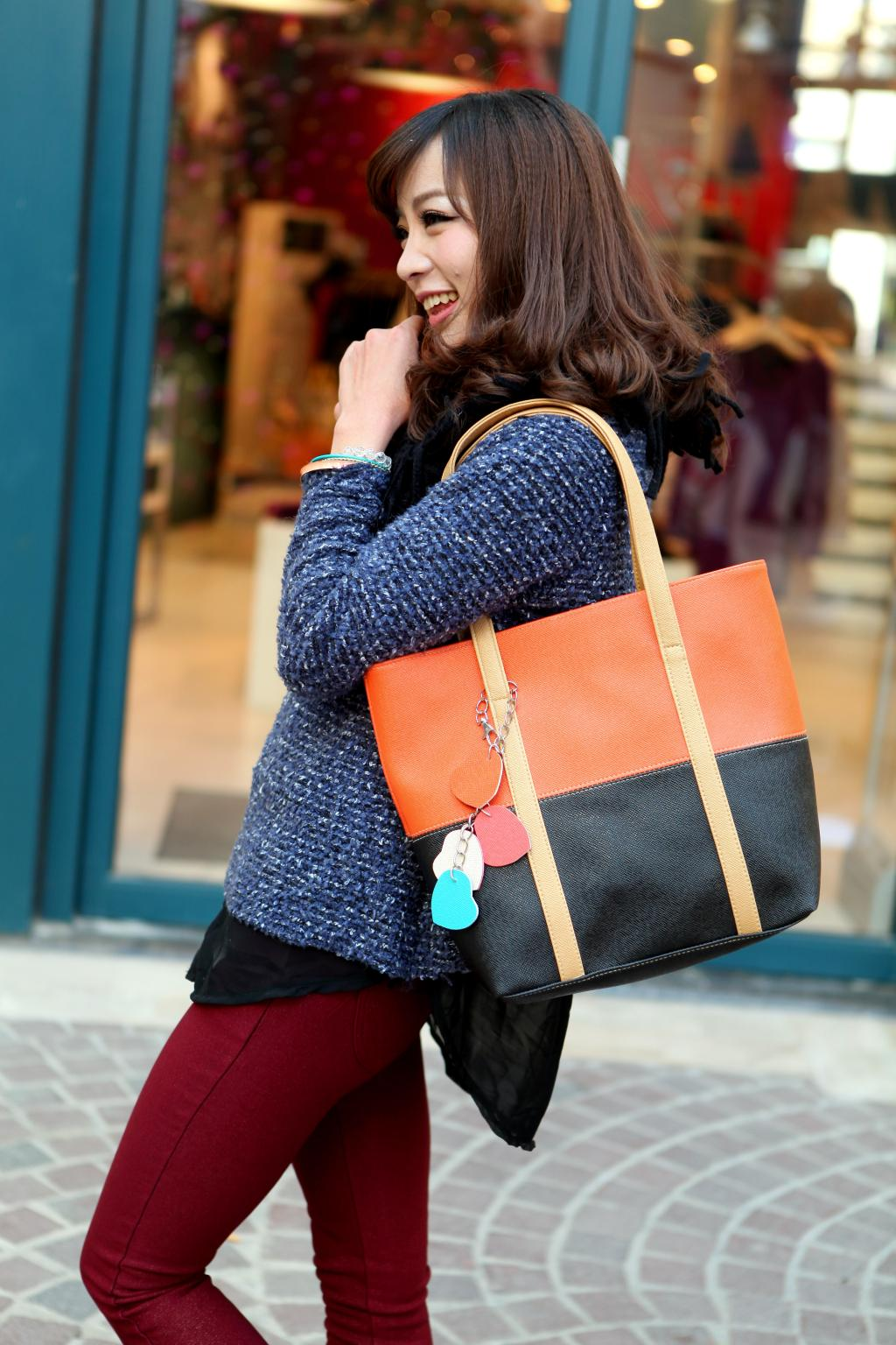 Large Capacity Women Shoulder Bag Two spell candy color female bag Fashion Lady Women Leather Bag 10