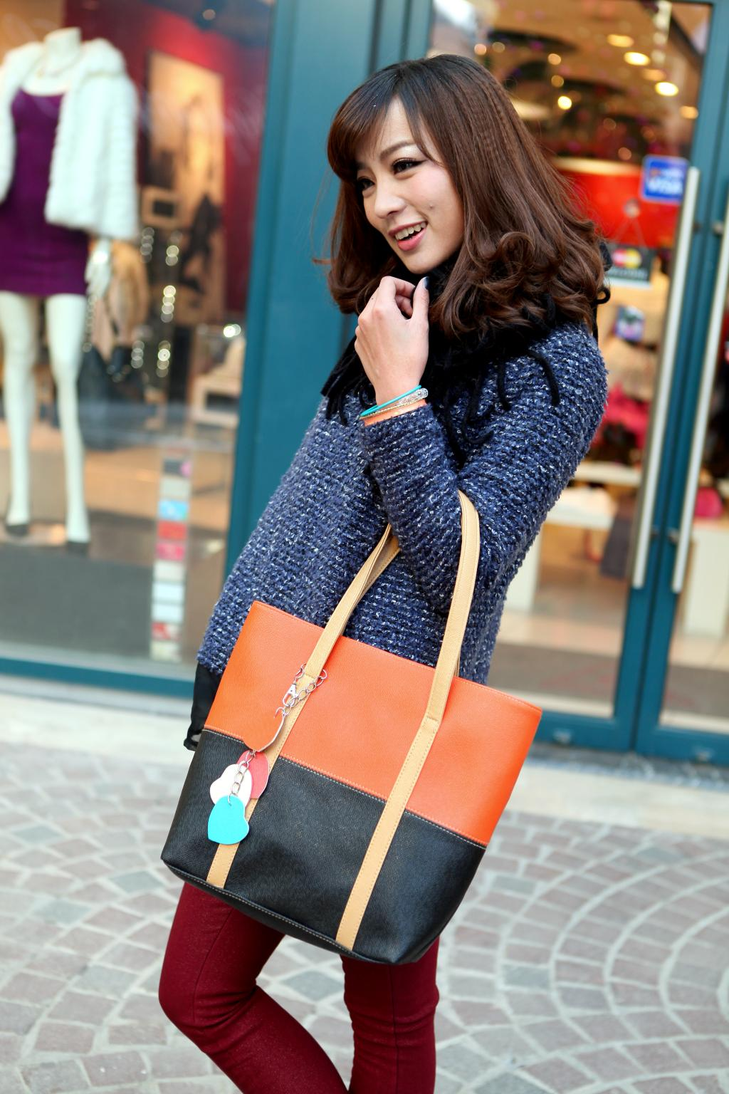 Large Capacity Women Shoulder Bag Two spell candy color female bag Fashion Lady Women Leather Bag 9