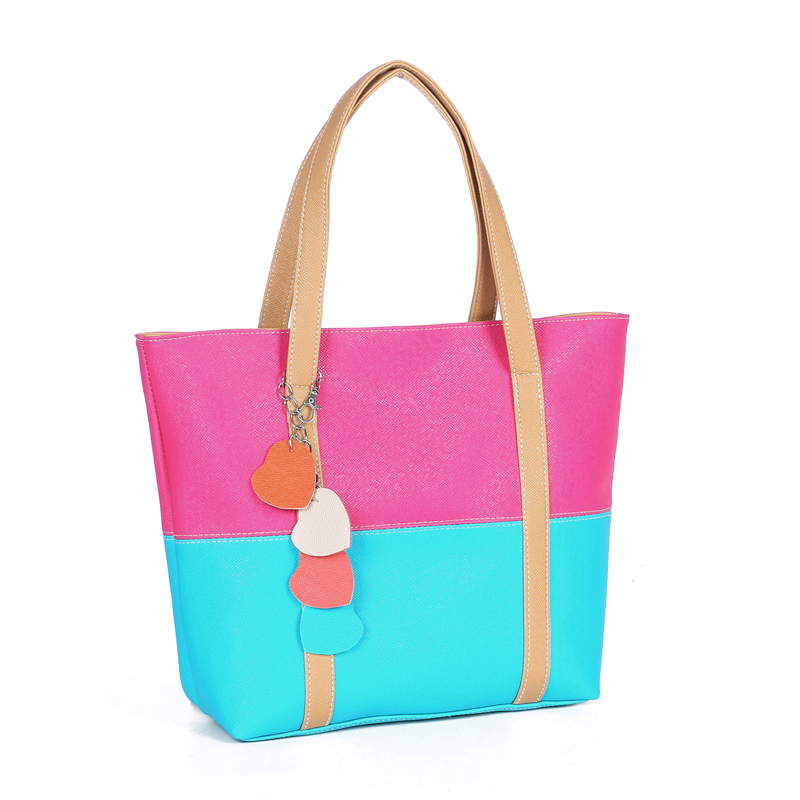 Large Capacity Women Shoulder Bag Two spell candy color female bag Fashion Lady Women Leather Bag 25