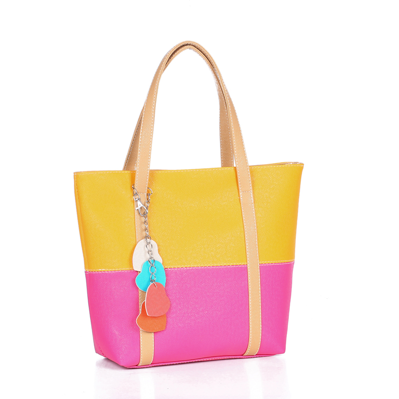 Large Capacity Women Shoulder Bag Two spell candy color female bag Fashion Lady Women Leather Bag 18