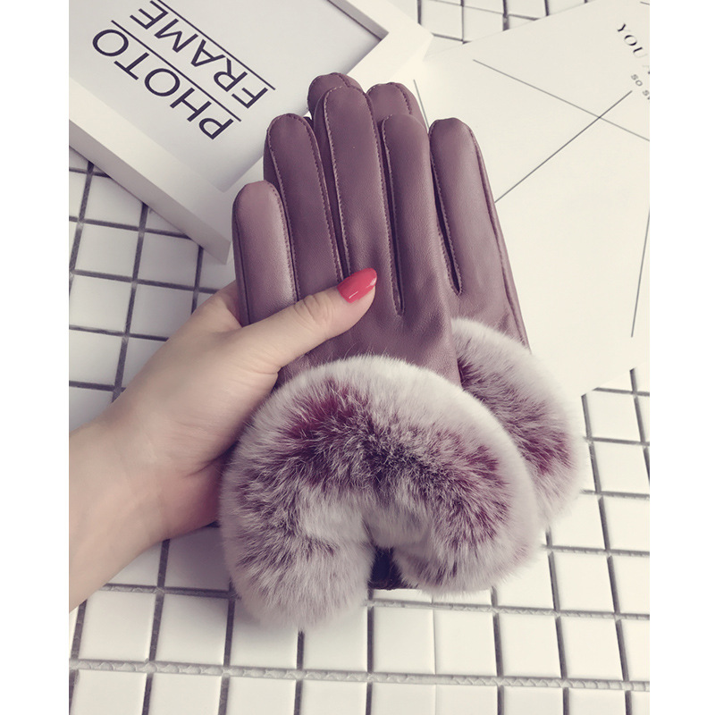 獭兔羊皮手套女冬季加绒开车a獭兔手套毛加厚触屏薄款韩版可爱真皮