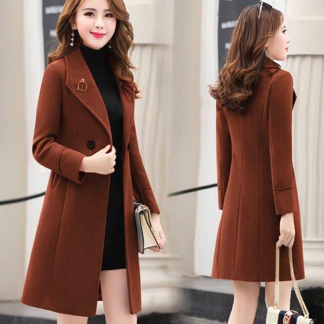 Mùa thu và mùa đông áo khoác len mới của phụ nữ giữa mùa thu và phong cách mùa đông Thời trang Hàn Quốc áo khoác len mỏng cho phụ nữ - Áo khoác dài