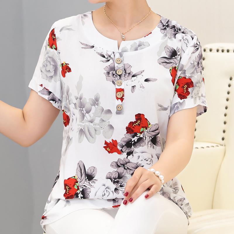 中老年上衣短袖T恤女妇女小衫中年夏装夏季妈妈装宽松大码棉麻胖