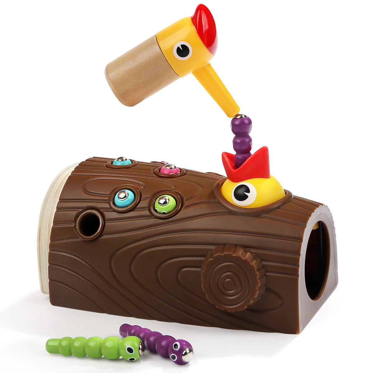 宝宝钓鱼玩具啄木鸟捉虫玩具1-2-3岁男孩女孩婴儿童益智抓吃虫子
