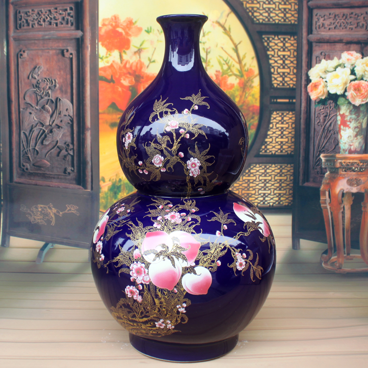 Jingdezhen Ceramic Large Floor Vase Ornaments Gourd Feng Shui Porcelain Living Room Craft Decoration Gifts