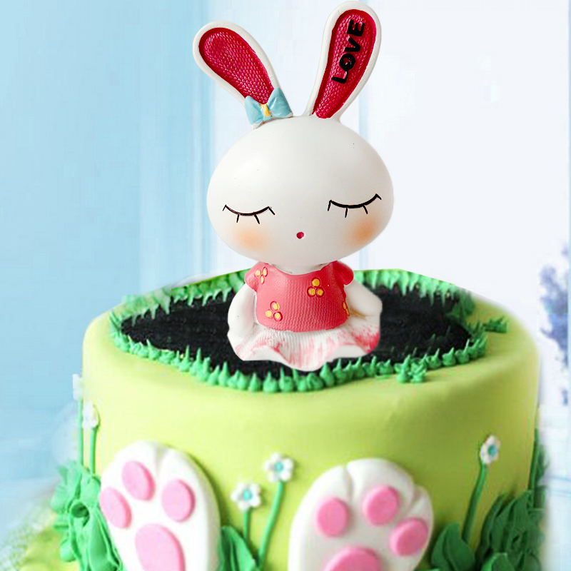 Party cake decoration cute rabbit birthday cake decoration ornaments