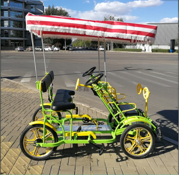 Auvette four-wheel bicycle double bicycle side by side three-wheel aluminum  wheel sightseeing car with carport