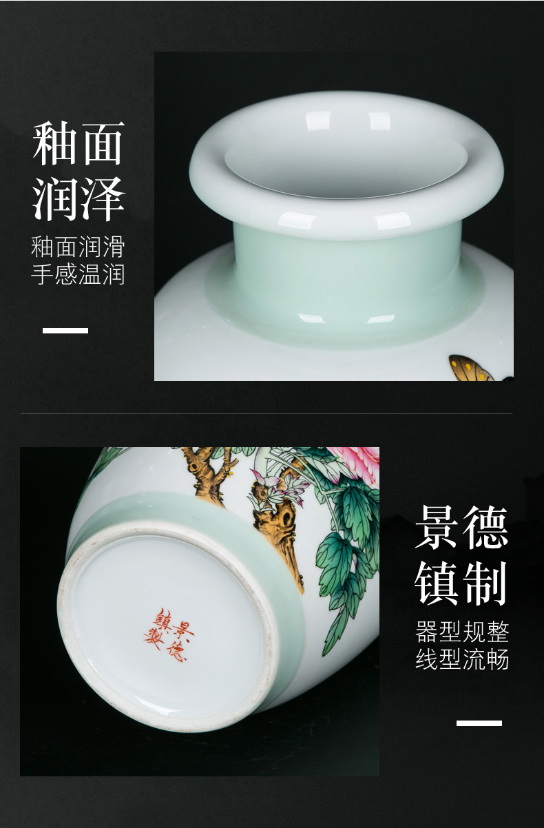 Ceramic vases, flower arrangement table decorations furnishing articles desks bottles of sitting room furniture Chinese hand made enamel vase