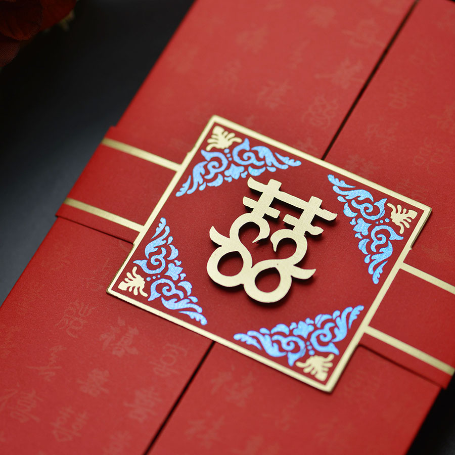 Happy speech 2018 Chinese style Chinese wedding invitation Wedding ...