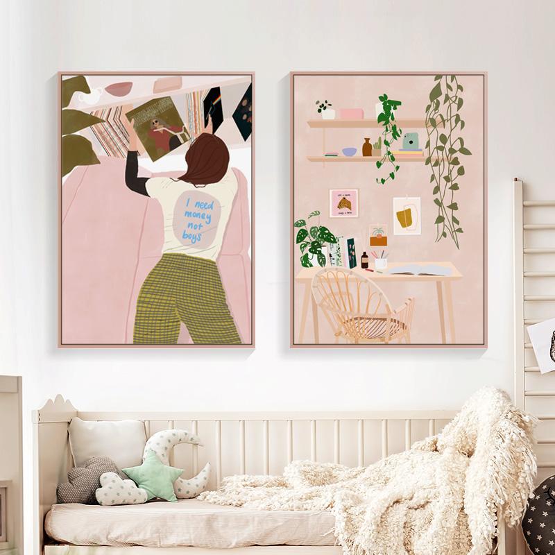 文艺小清新装饰画客厅北欧现代简约挂画餐厅个性壁画服装店墙画