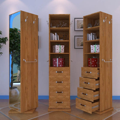 Systematic fitting north of European storage clothes mirror rotating solid wood flooring mirror practical environmental protection bookcase shoe cabinet