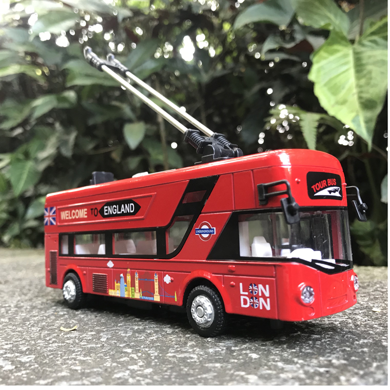 清仓包邮v单层伦敦单层玩具巴士儿童电车城市公交声光合金汽车模型