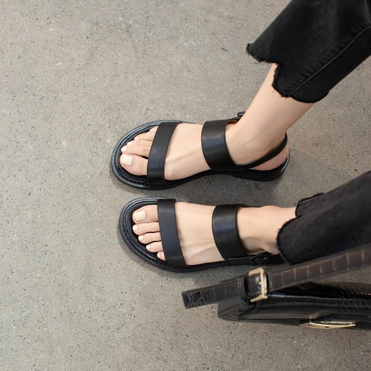 Large size 40 casual walking summer sandals thick heel daily low heel Roman toe leather womens shoes