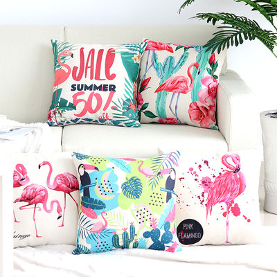 Cotton linen pillow cushion Nordic modern pillow Flamingo waist cushion sofa back cushion pillowcase without core