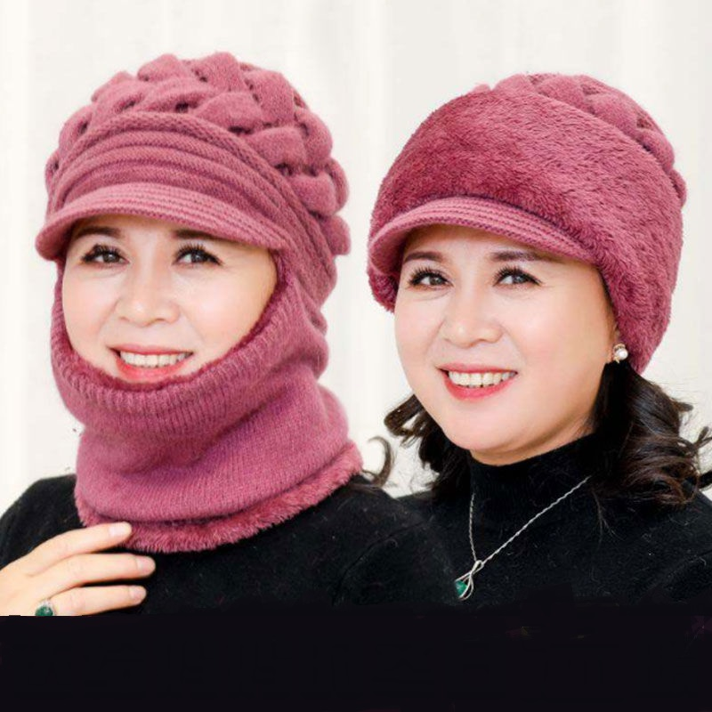 中老年人帽子女冬季围脖一〖体帽针织毛线帽奶奶冬帽中年保暖妈妈帽