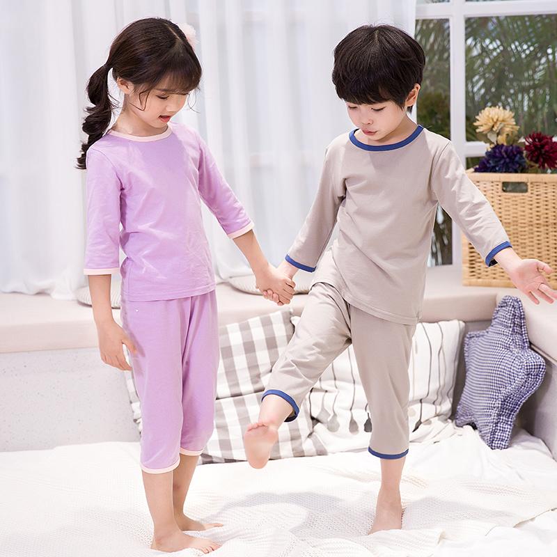 儿童睡衣男童女童空调家居服小中大宝宝纯棉短袖套装男孩夏季薄款