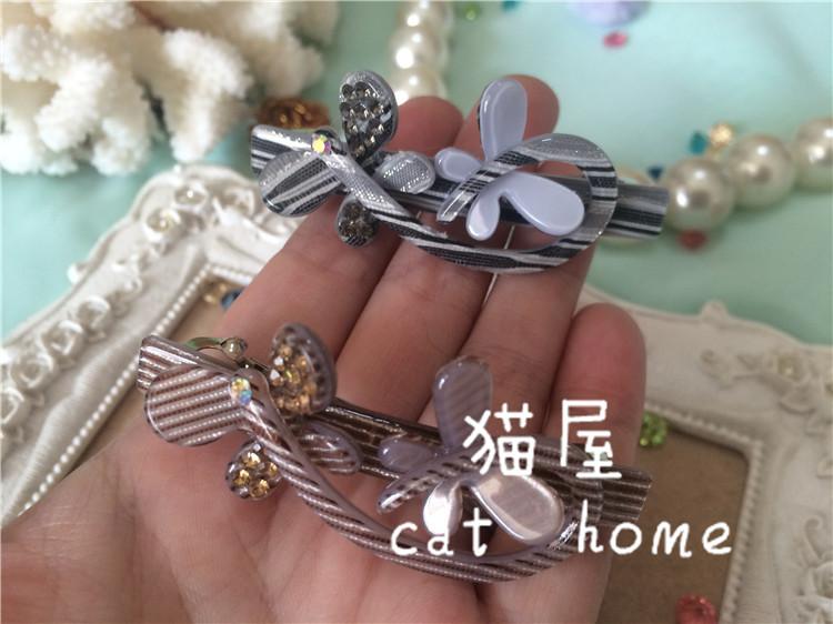 猫屋cathome发饰D0335韩版小顶夹两只蝴蝶镶钻亚克力弹簧夹