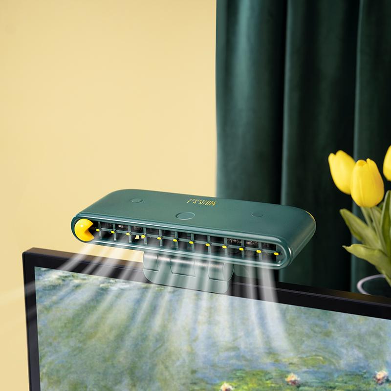 S14屏幕风扇创意桌面挂屏式小电风扇便携充电三档调风立式双叶扇