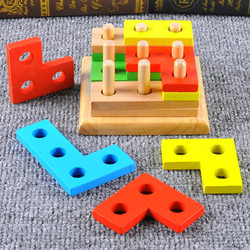 Intelligence geometry paired sets of combination blocks removable wooden column early childhood educational toys for children Fun