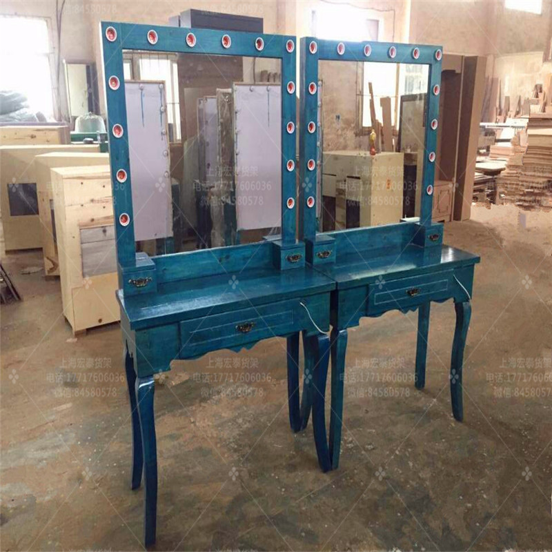Custom Solid Wood Retro New Dressing Table Makeup Table School Makeup  Studio Makeup Table With Lights Professional ...