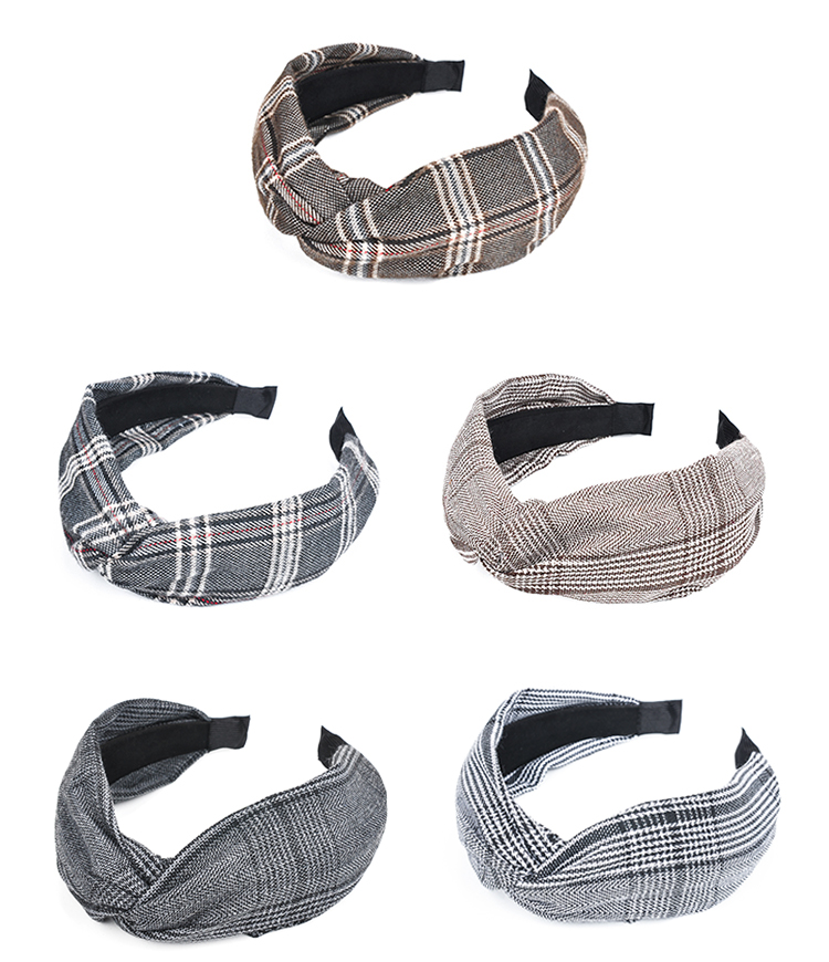 Korean version of the houndstooth fabric knotted wide-brimmed headband NHOF157704