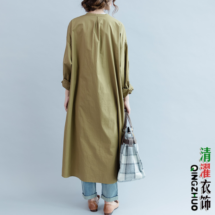 Qe2 casual maxi loose fit hi low 100 cotton women long for Women s button down shirts extra long