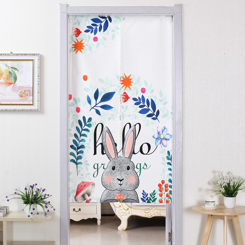 Cotton Linen Curtains Bedroom Kitchen Living Room Partition Curtain Wind Bathroom Half Cartoon Decorative
