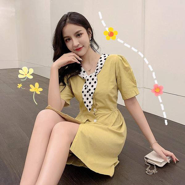 網紅定制 很仙的法式復古波點V領泡泡袖連衣裙顯瘦氣質茶歇裙