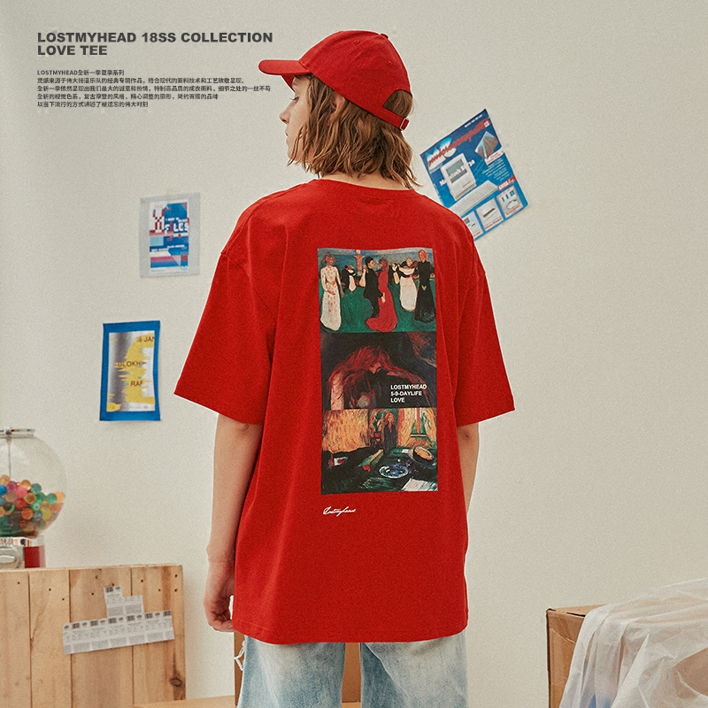 0cd6439f0a3 LISA tide LOSTMYHEAD 18ss love oil painting short sleeve couple printing T- shirt men and women Tide brand half sleeve