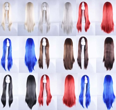 taobao agent Long straight hair universal 70cm Cosplay wig center point blue black silver white fake hair