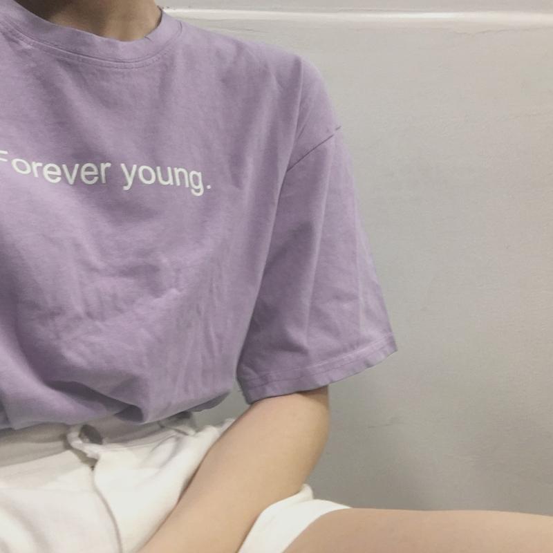 2019夏装韩版学院风圆领字母印花宽松显瘦短袖T恤上衣学生女装潮