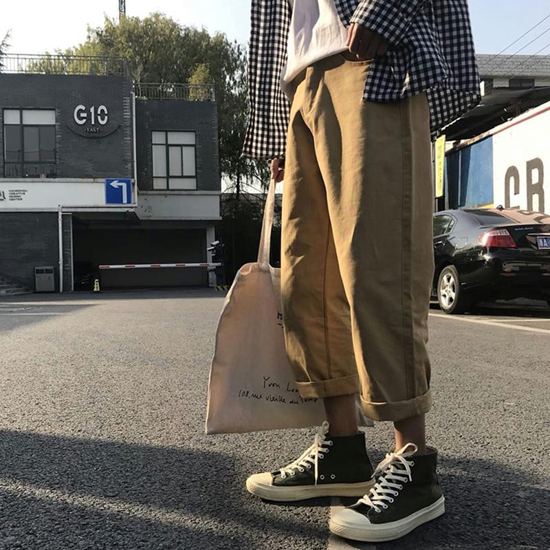 Порт ветер весна харлан брюки мужчина брюки свободный харадзюку девять очков корейская волна струиться студент прямо спортивные брюки сын