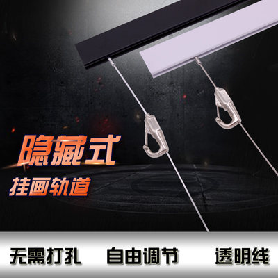 Rail hanging picture device stainless steel wire rope adjustment household hanging picture line hidden art exhibition gallery picture hook hanging mirror line