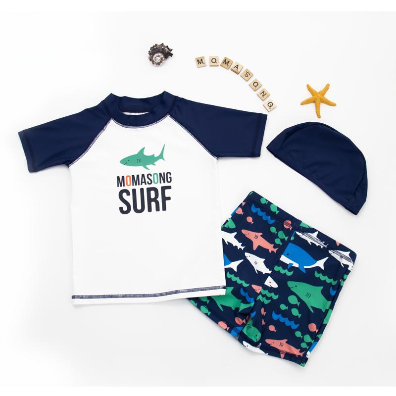 Quần áo đi biển trẻ em Hàn Quốc mới cho bé trai áo chống nắng tay áo ngắn và trẻ nhỏ chia nhỏ phim hoạt hình phù hợp với lướt sóng - Bộ đồ bơi của Kid