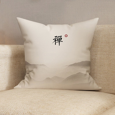 Chinese simple Zen bed pillow Chinese style retro mahogany sofa cushion waist Japanese style with waist pillow