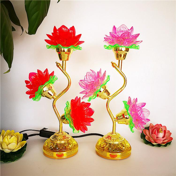 Светильник-Лотос Бесплатная доставка светодиодный кристалл лотоса лампы трех продуктов для лампы Будда лампа для богиня милосердия лампы длинные светлые песнопения лотоса лампы