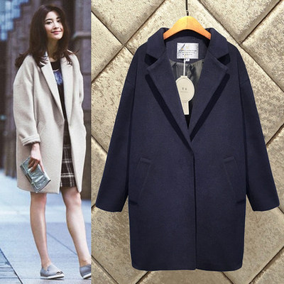 16 new plus fat plus size women's woolen coat Korean version of the thin college wind thick woolen jacket