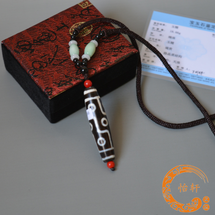 Ювелирные изделия и полуфабрикаты Чисто природные тибетских дзи бусины аутентичные девять девять eyed дзи шарик сланцевого камень ожерелье кулон медальон тантрические продукты сеть