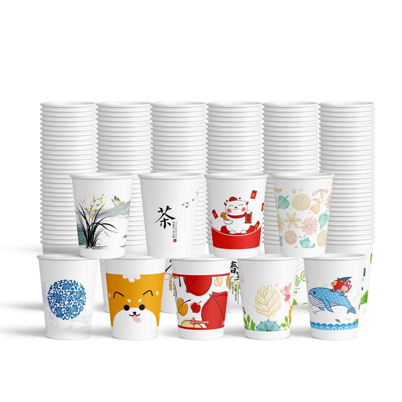 纸杯定制印LOGO一次性杯子1000只加厚结婚家用商用广告水杯定做