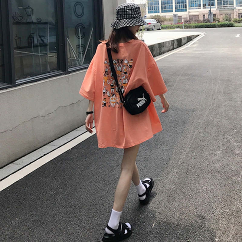 ins超火2019夏季新款原宿风学生宽松大版韩版印花中长款短袖T恤女