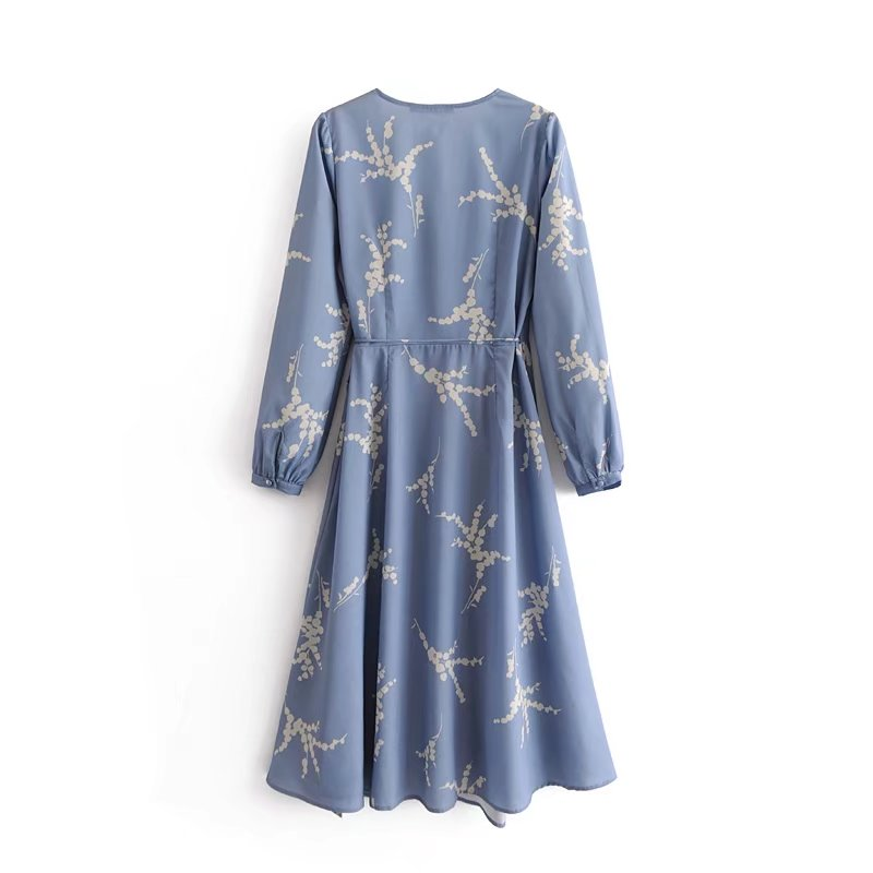 Europe and the United States 2018 summer new style slim long sleeve rice printing v collar collection waist wrap skirt dress
