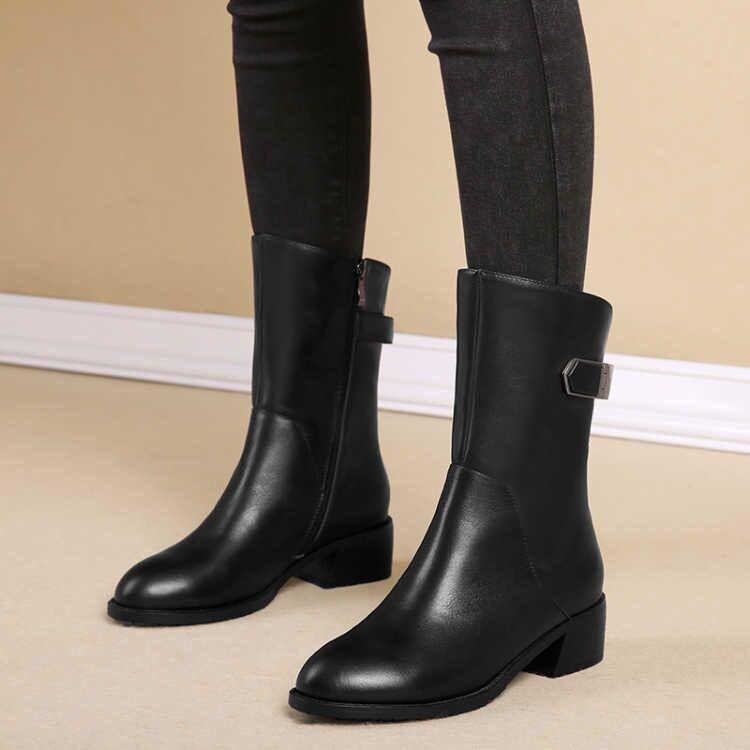 雪地意尔康秋冬新款中筒靴女靴子平底短靴粗跟马丁靴英伦风女真皮