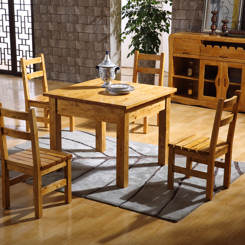 Solid wood dining table retractable dining table with chairs combination square table square rectangular cedar wood & USD 961.96] Solid wood dining table retractable dining table with ...