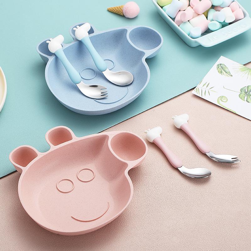 弯头小猪可爱卡通分格盘创意304不锈钢餐具勺叉筷儿童碗小麦套装