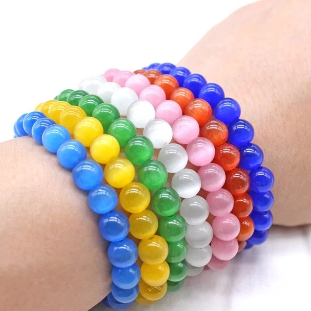 New golden opal mens and womens blue, green and white powder single circle popular jewelry Beaded fashion bracelet bracelet