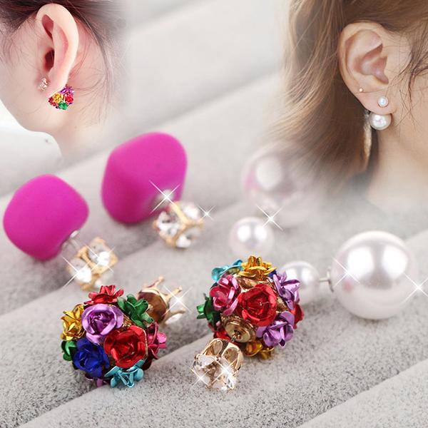 天天特价个性耳环耳坠韩国玫瑰水钻简约耳钉配饰耳饰品女三件套装