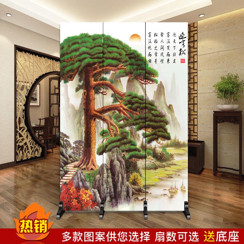 中式屏风隔断客厅玄关酒店餐厅饭店用折叠移动中国风山水画迎客松