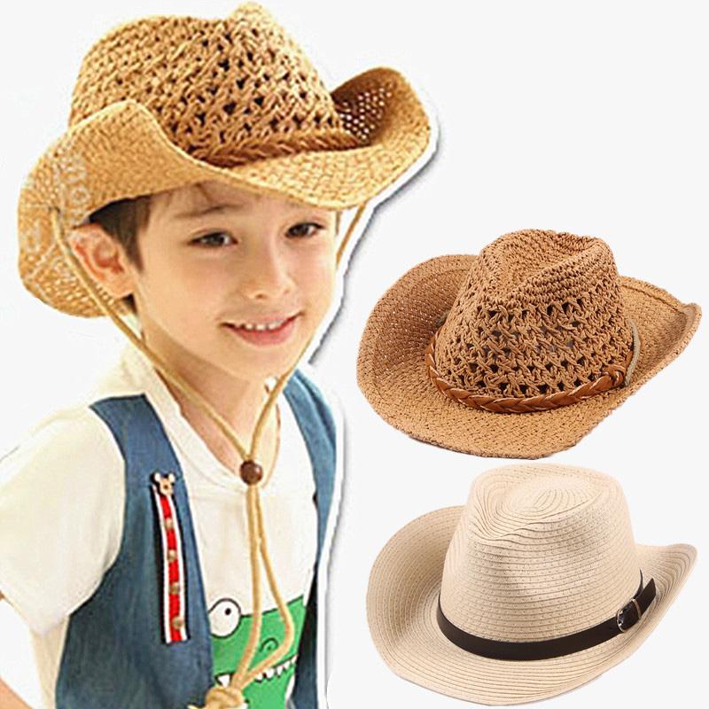 儿童帽子夏男潮西部牛仔大檐手工亲子草帽宝宝沙滩遮阳帽男童凉帽